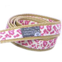 DOG LEAD - CLASSIC ANIMAL PRINT LEOPARD PINK (RIBBON 16mm)